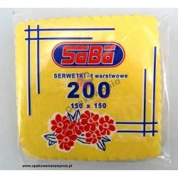 Serwetka żółta intensywna ząbkowana 15x15 a'200