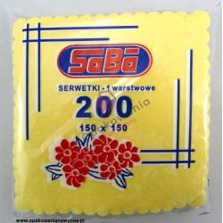 Serwetka żółta ząbkowana 15x15 a'200