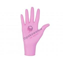 Rękawice nitrylowe M bezpudrowe różowe 100 szt