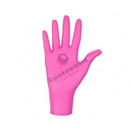 Rękawice nitrylowe z kolagenem L bezpudrowe różowe 100 szt