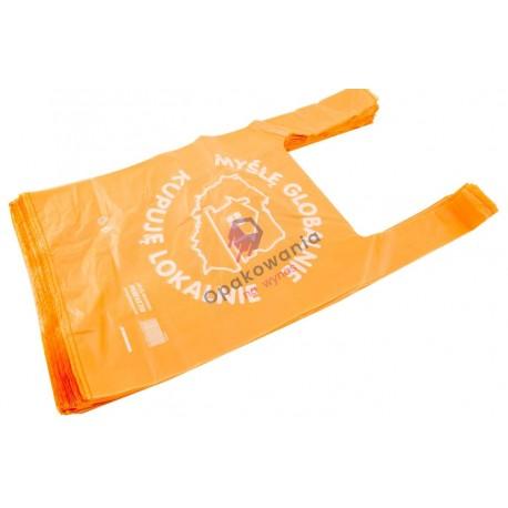 Reklamówka HDPE 30/55 Giga mocna pomarańczowa 51my 100szt