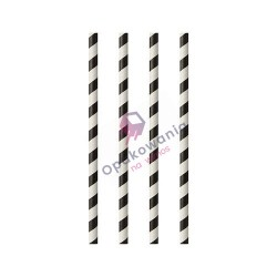Słomki papierowe proste Stripes 100szt 87981