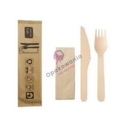 Zestaw sztućców z drewna nóż+widelec+serwetka 100szt KITBOIS3