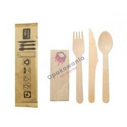 Zestaw sztućców z drewna nóż+widelec+łyżka+serwetka 100szt KITBOIS4