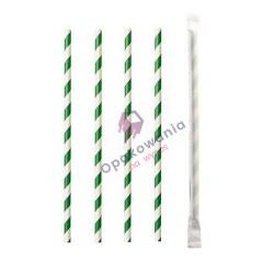 Słomki papierowe Shake 8/197 pakowane pojedynczo biało-zielone 250szt Enjoy&BeEco