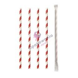 Słomki papierowe Shake 8/197 pakowane pojedynczo biało-czerwone 250szt Enjoy&BeEco