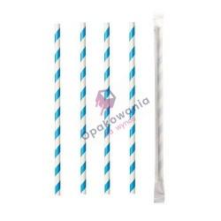 Słomki papierowe Shake 8/197 pakowane pojedynczo biało-niebieskie 250szt Enjoy&BeEco
